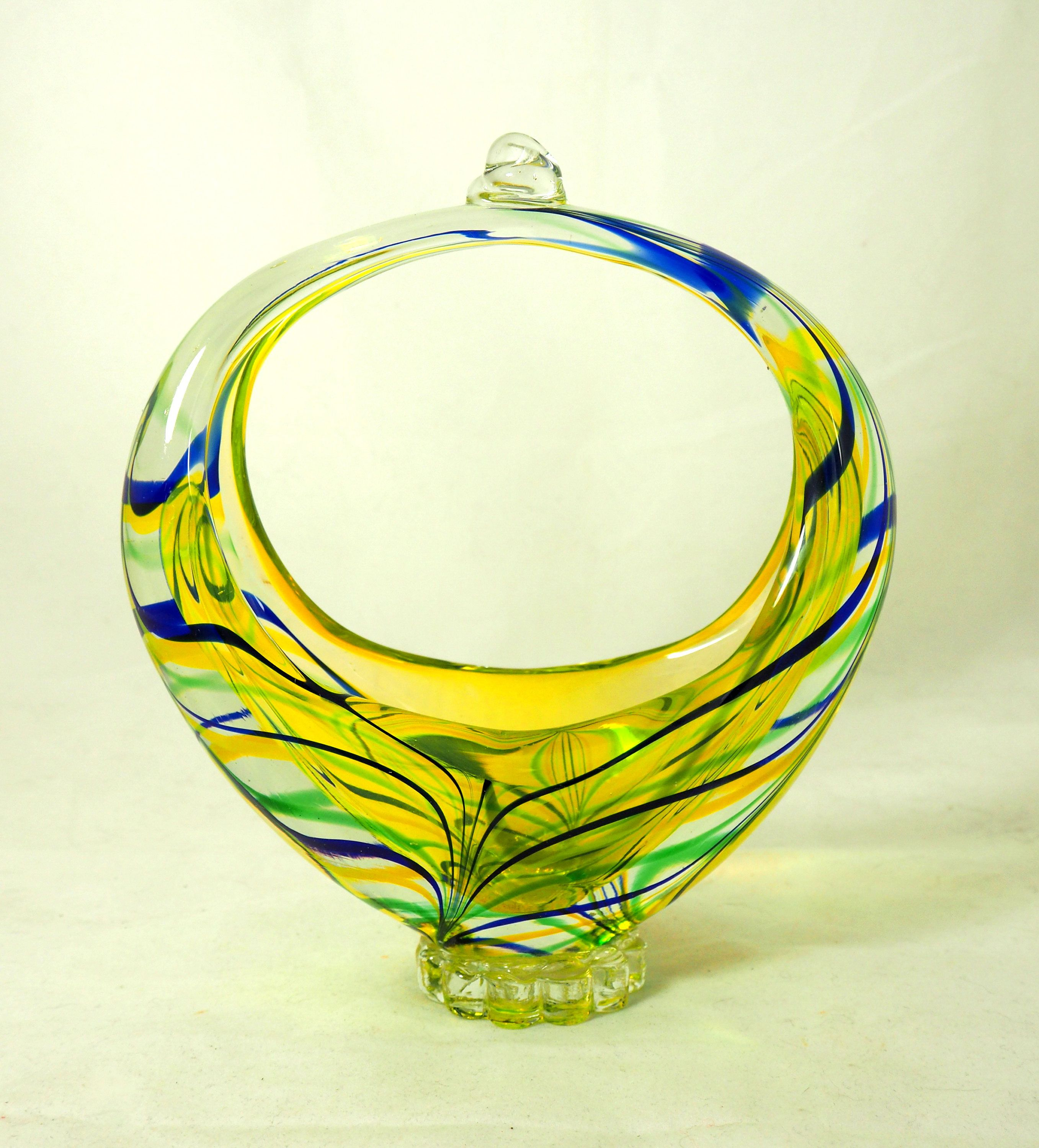 Vintage Murano Basket Vase, Mid-Century Sommerso Large Handblown ...