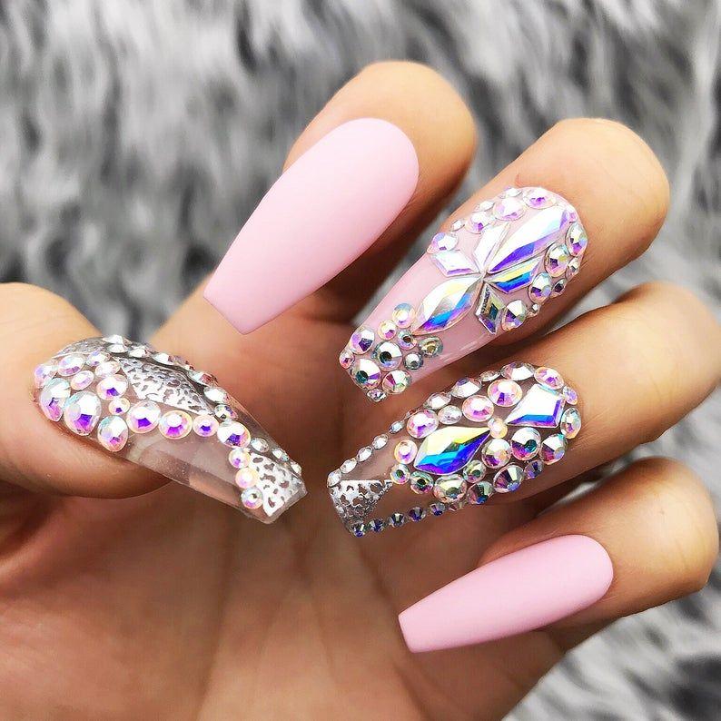 Pink Fearless Silver Swarovski Crystal Nail | Press On Nails | Fake Nails | False Nails | Glue On Nails | Bridal Nails | The Nailest #crystalnails
