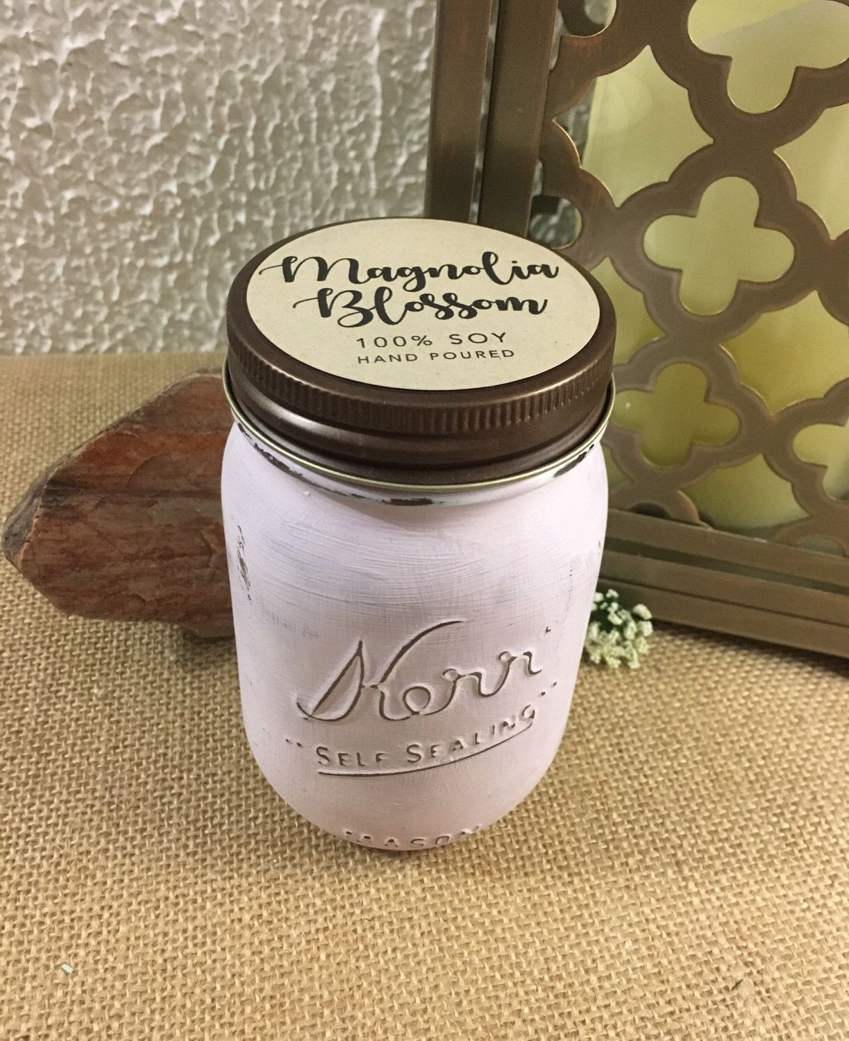 On Sale Magnolia Blossom Soy Jar Candle All Natural Etsy Candle Jars Soy Candle Jars Mason Jar Candles