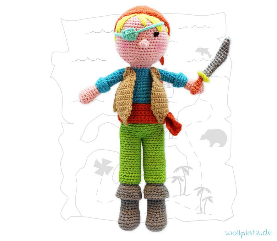 Puppe häkeln - Pirat Teun - Gratis Anleitung Wollplatz.de ...