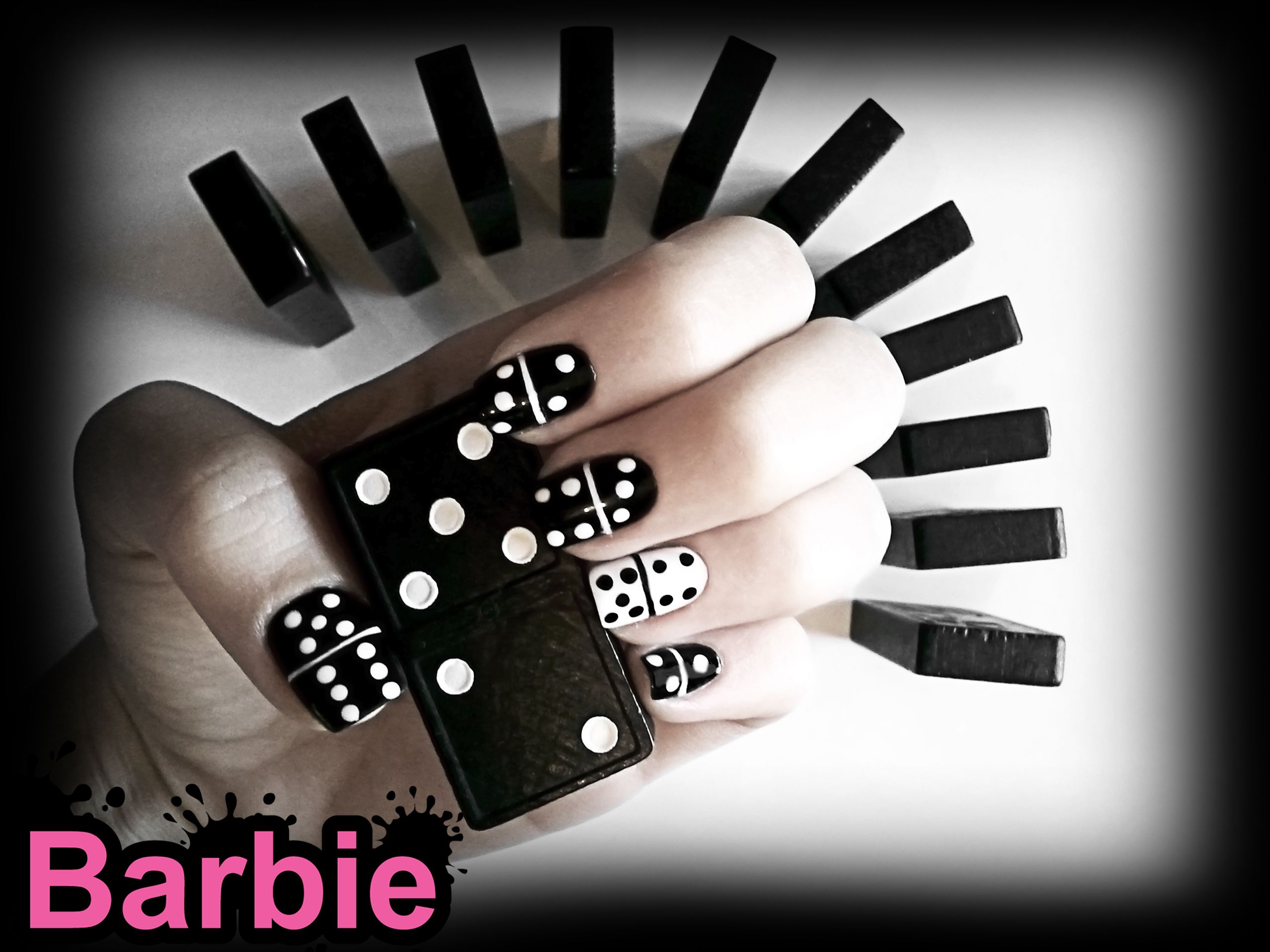 Domino Nails - Nail Design of parts from the famous game, domino ...