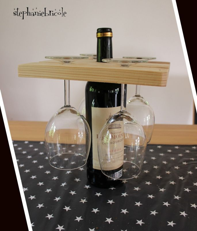 idée diy pour la fêtes des pères : porte verres sur une bouteille de