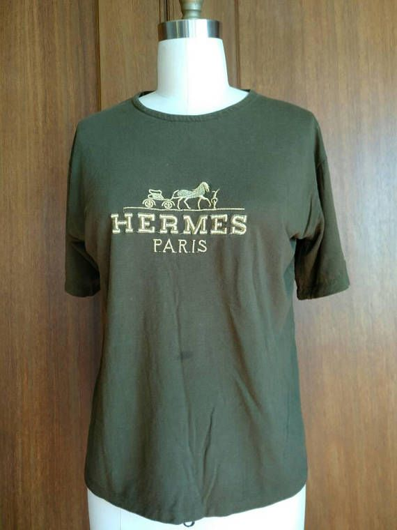 coupon code latest buy online HERMES Authentic Vintage T-shirt Women's Army Green Gold | Womens ...