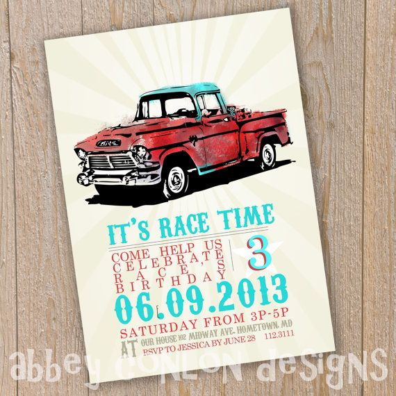 BIRTHDAY INVITATIONS? Customized Boys Vintage Truck