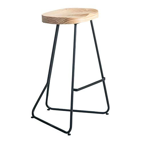 Qnjm Bar Stool Modern Minimalist Wrought Iron Bar Stool Solid Wood Seat Dining Chair Breakfast Restaurant Stool Kitche Wrought Iron Bar Stools Restaurant Stools