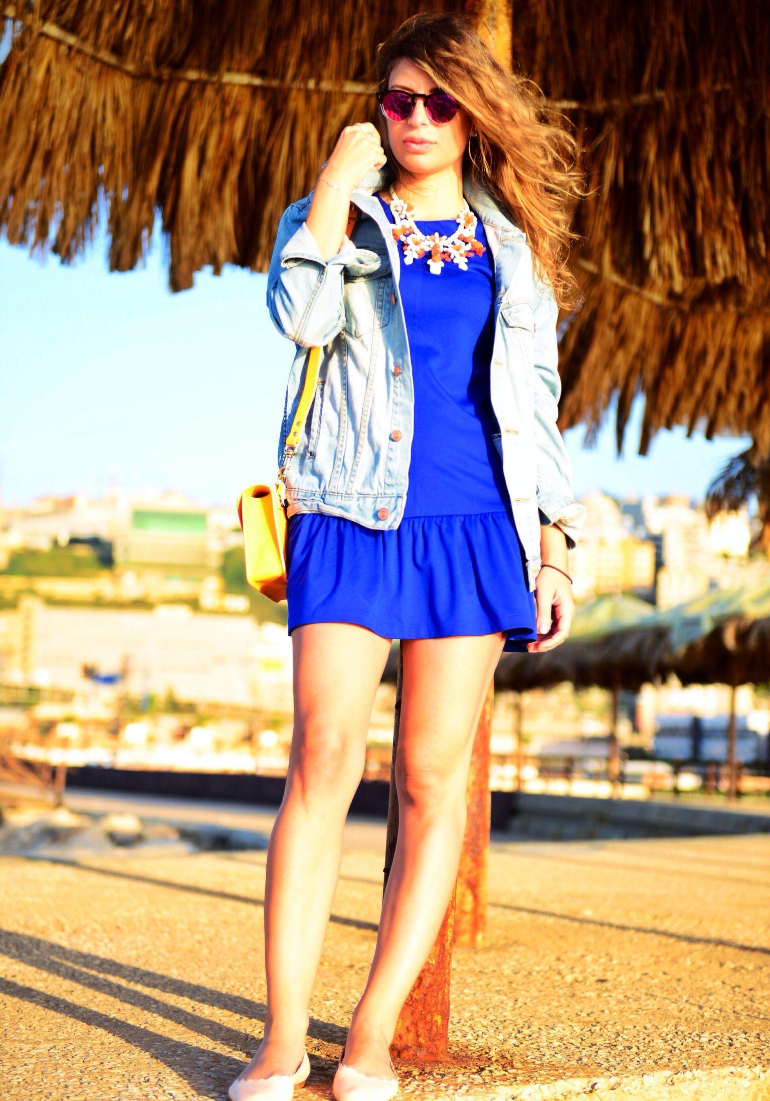 Aquamarine H&M Dresses, Peach H&M Belts, Nude Zara Heels