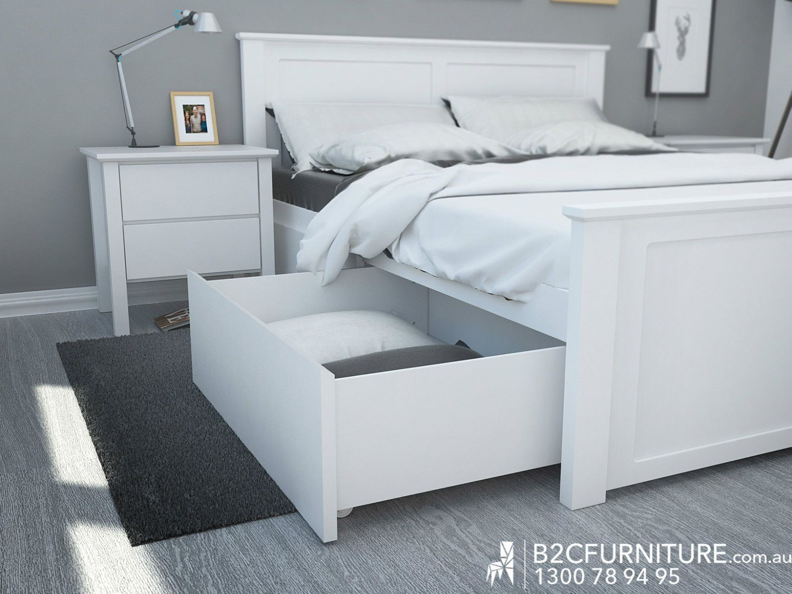 White Queen Bed Frame With Under Bed Storage Drawers Hardwood