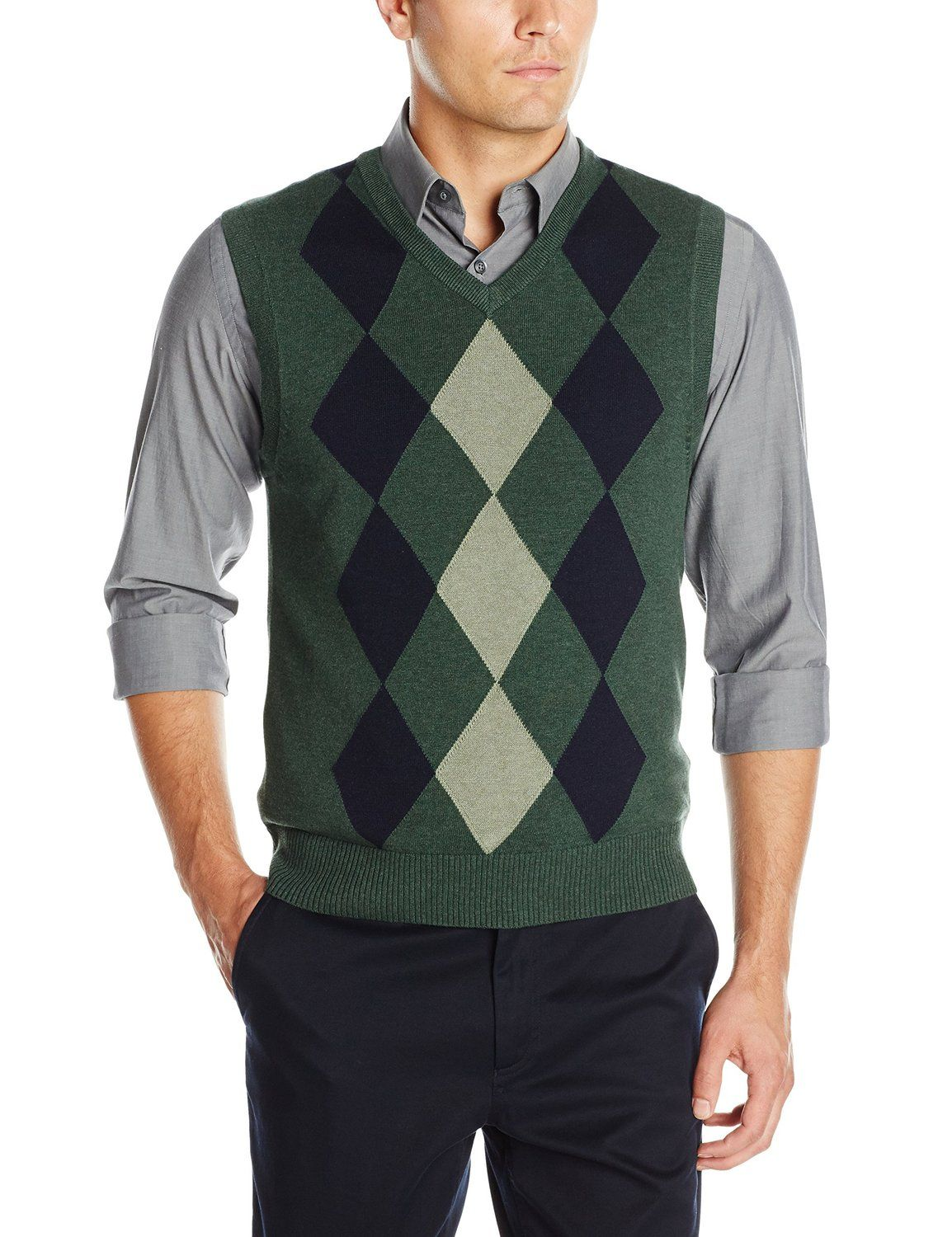 0a304096c50429 1920s Style Mens Golf Argyle Vests Haggar Mens Heather Argyle V-neck  Sweater Vest AT vintagedancer.com