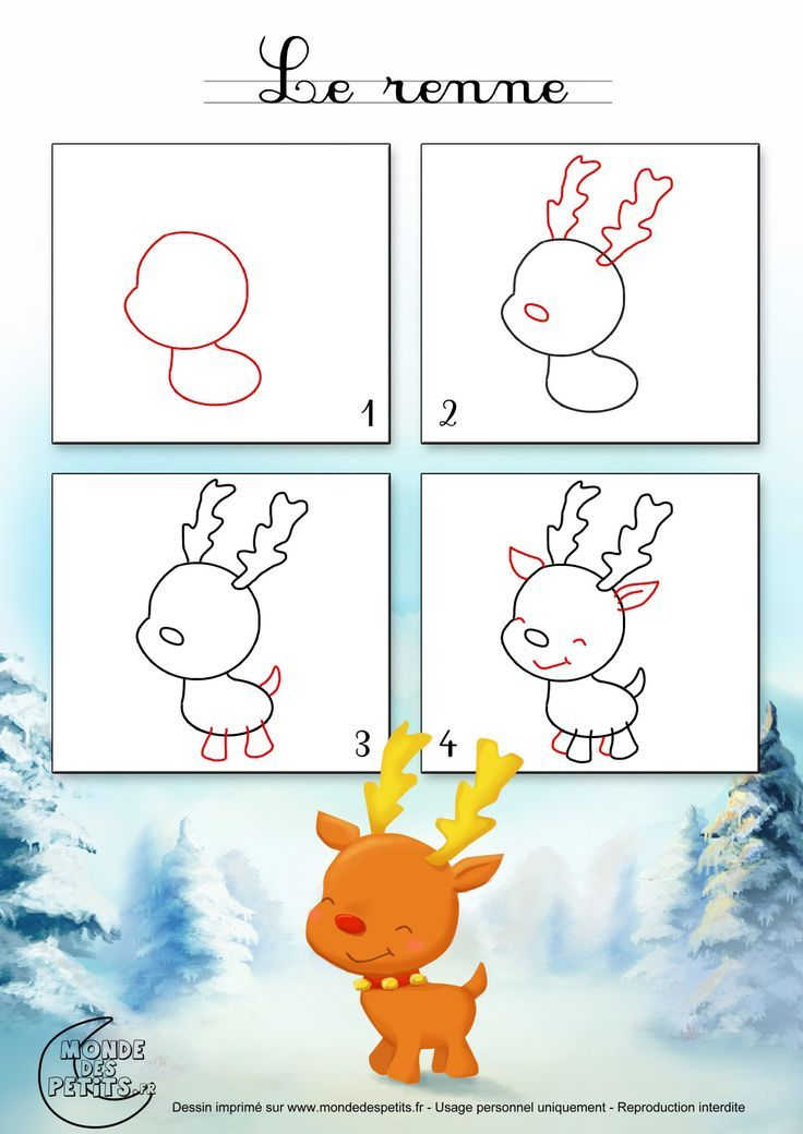 Dessin1 comment dessiner un renne de no l bujo doodle pinterest dessin dessin noel - Dessiner un renne ...