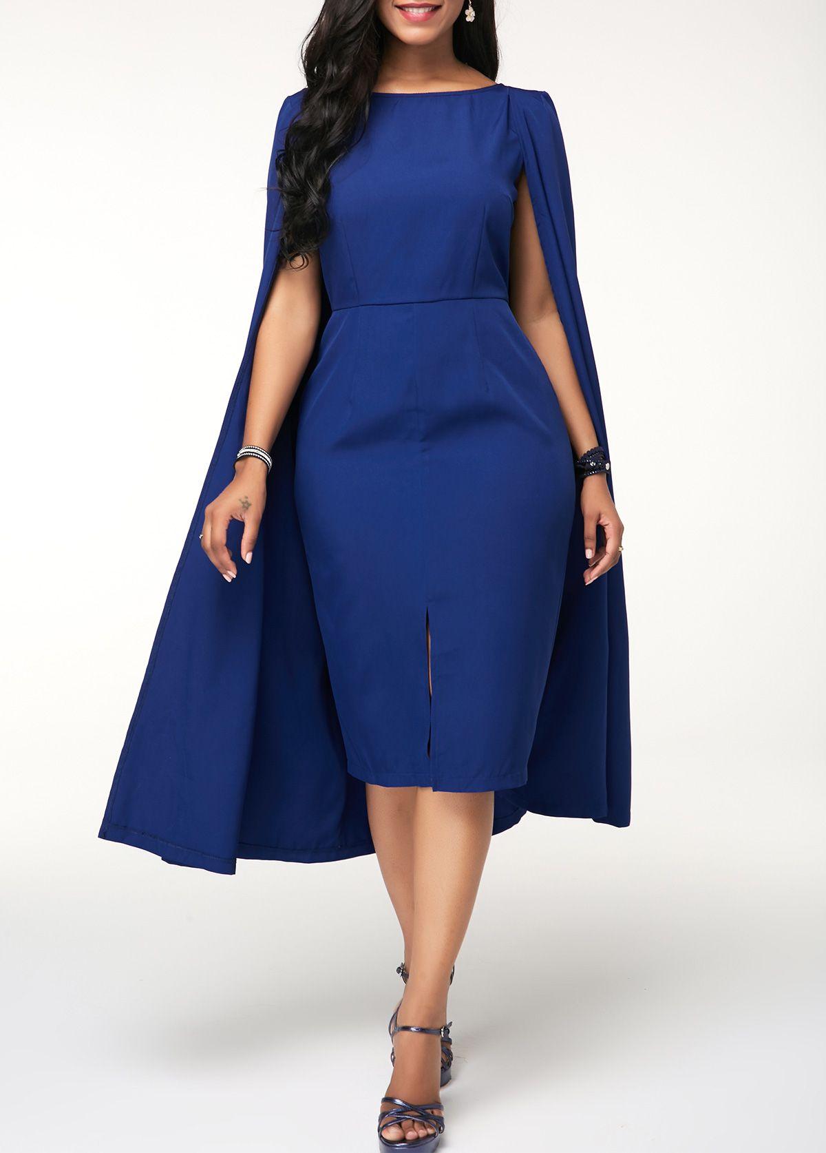 009b8e6a5c Cape Sleeve Front Slit Navy Blue Sheath Dress