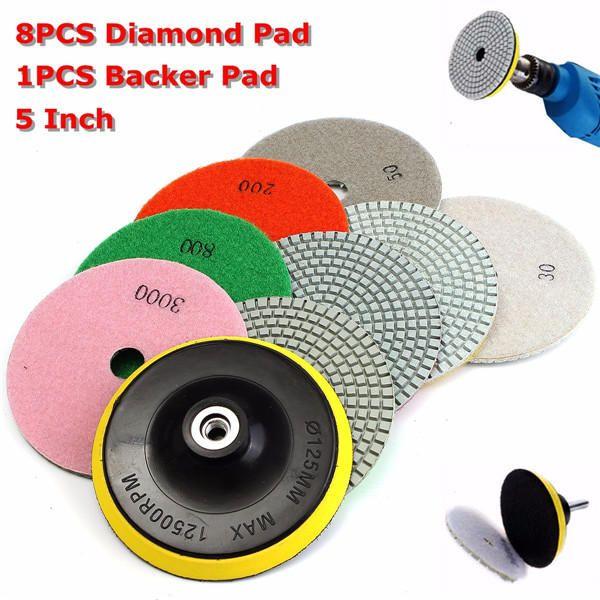Diamond Polishing Pads 4 inch Wet//Dry Set /& Backer Granite Stone Concrete Marble