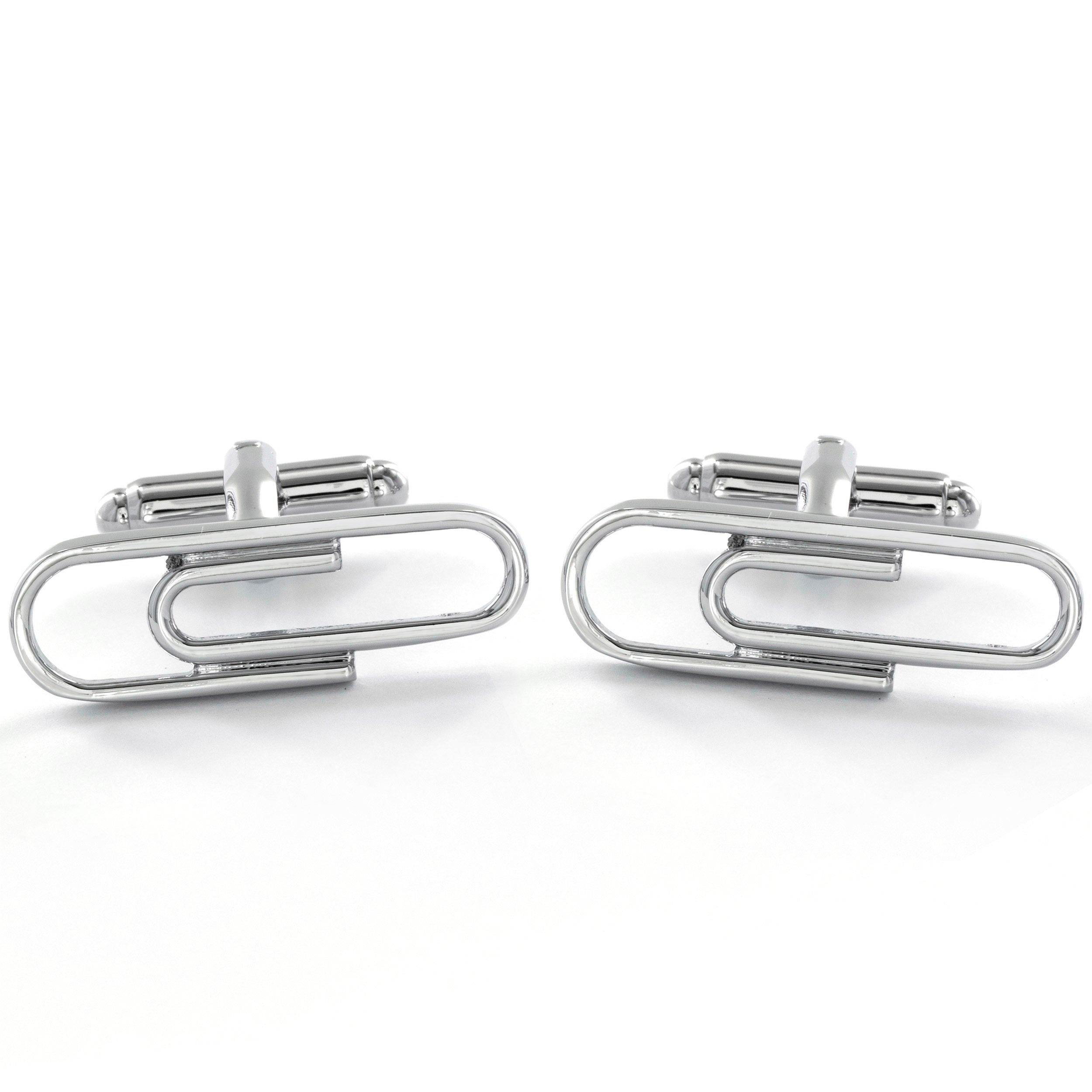 West Coast Jewelry High Polish Stainless Steel Men's Paperclip Cuff Links