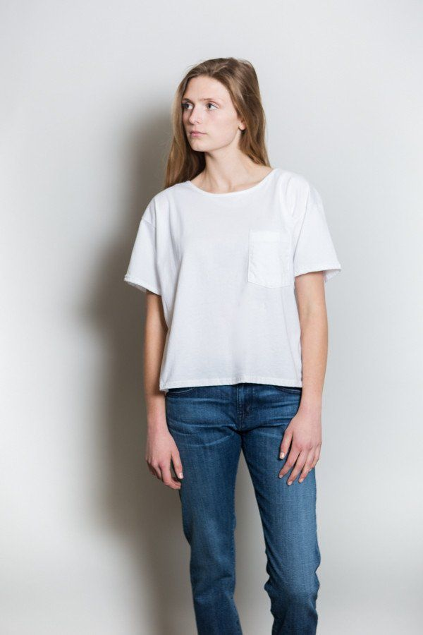 Oak NYC Slouch Pocket Tee White Front