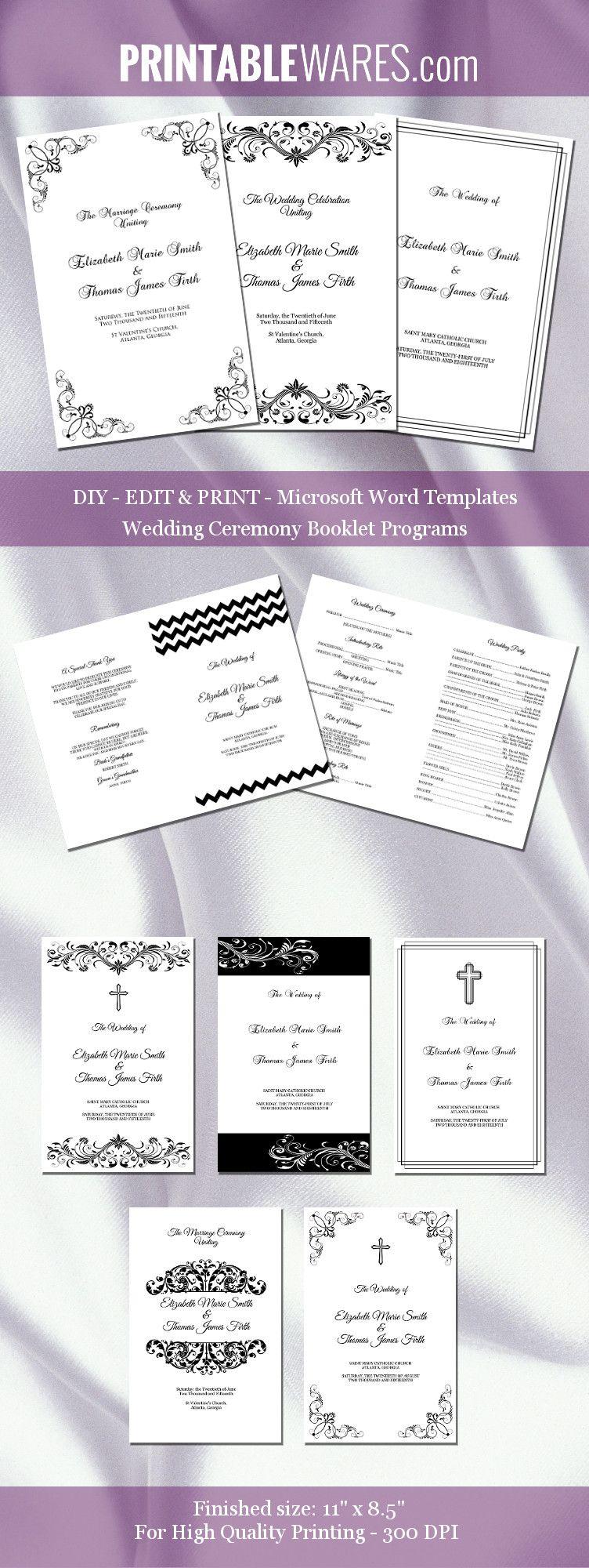 Booklet Wedding Program Templates Word Black White Ceremony Program Template Diy Wedding Programs Wedding Ceremony Programs Template Microsoft word wedding program template