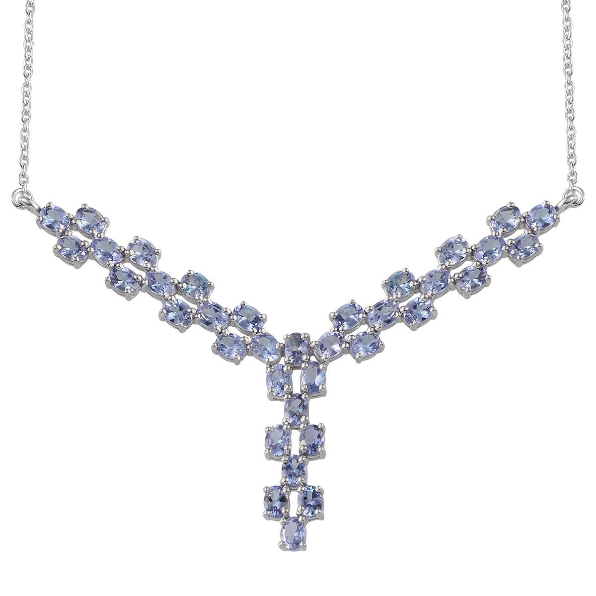 Bondi Blue Tanzanite (Ovl) Necklace (18 in) in Platinum Overlay Sterling Silver Nickel Free TGW 6.12 Cts.