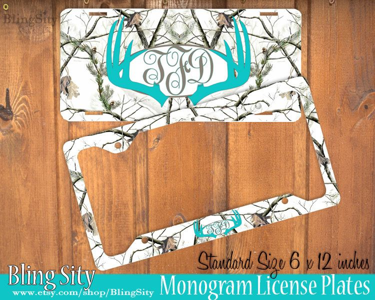 aqua white camo antlers monogram license plate frame holder deer metal wall sign tags personalized custom