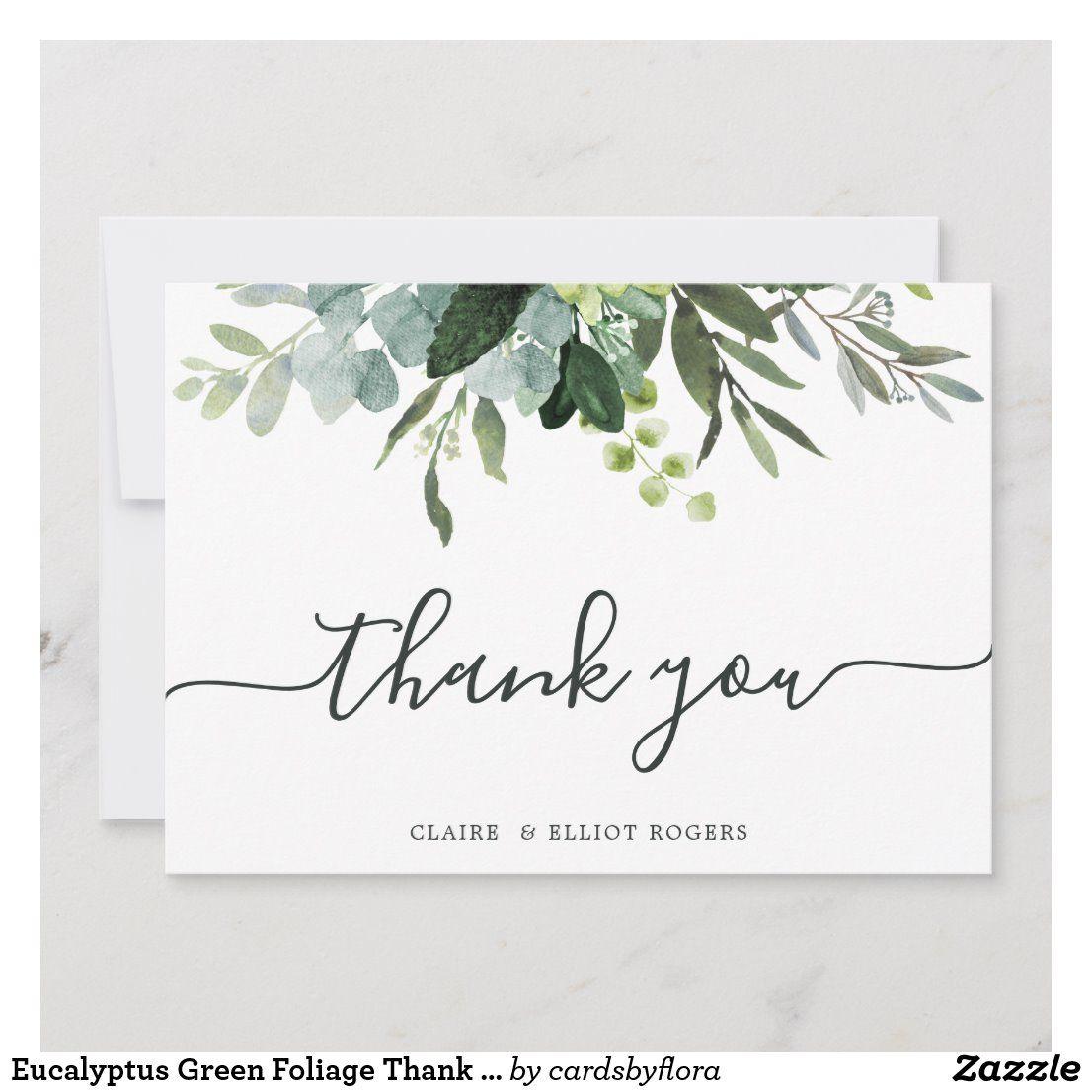 Eucalyptus Green Foliage Thank You Card   Zazzle.com -   15 wedding Card watercolor ideas