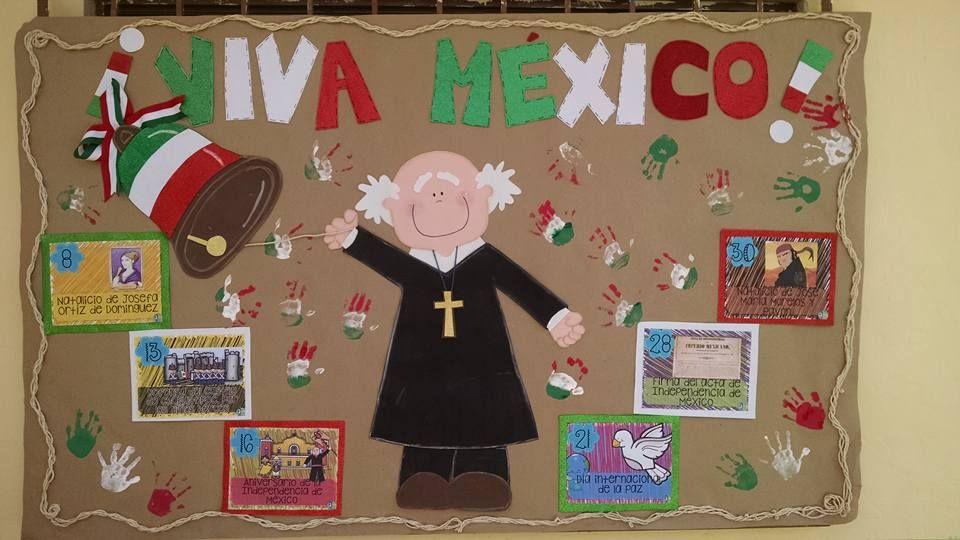 Periódico mural de septiembre. Fiestas patrias. Viva México