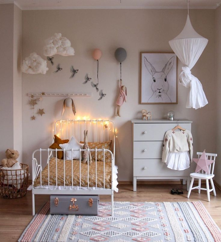 We Just Love This Pretty Little Girl S Room By Peschkart Only Few Of The Maileg Soft Bunnies Remaining In Our Cool Kids Rooms Toddler Bedrooms