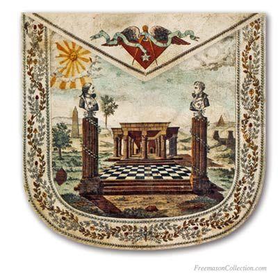 A Masonic Apron with a bust of Washington & Lafayette'  Masonic