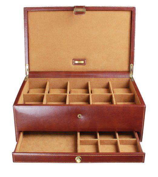 Dulwich Designs - Scatola porta gemelli e orologi Heritage con 10 scomparti, colore: marrone: Amazon.it: Casa e cucina