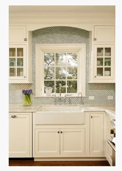 Kitchen Backsplash Around Window white on white kitchen, backsplash around window.   home-kitchen