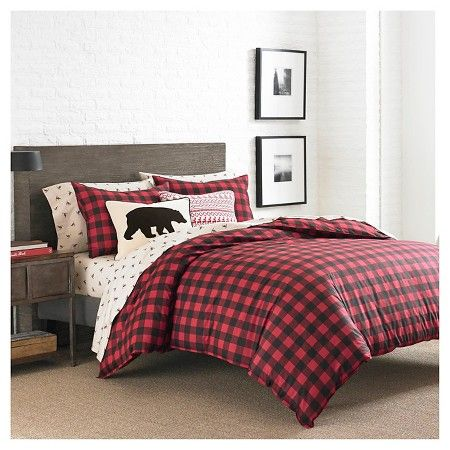 Mountain Plaid Duvet Cover And Sham Set Twin Red Ed Bauer