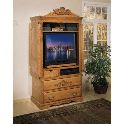 Country Heirloom Large TV Armoire In Medium Wood   Http://delanico.com
