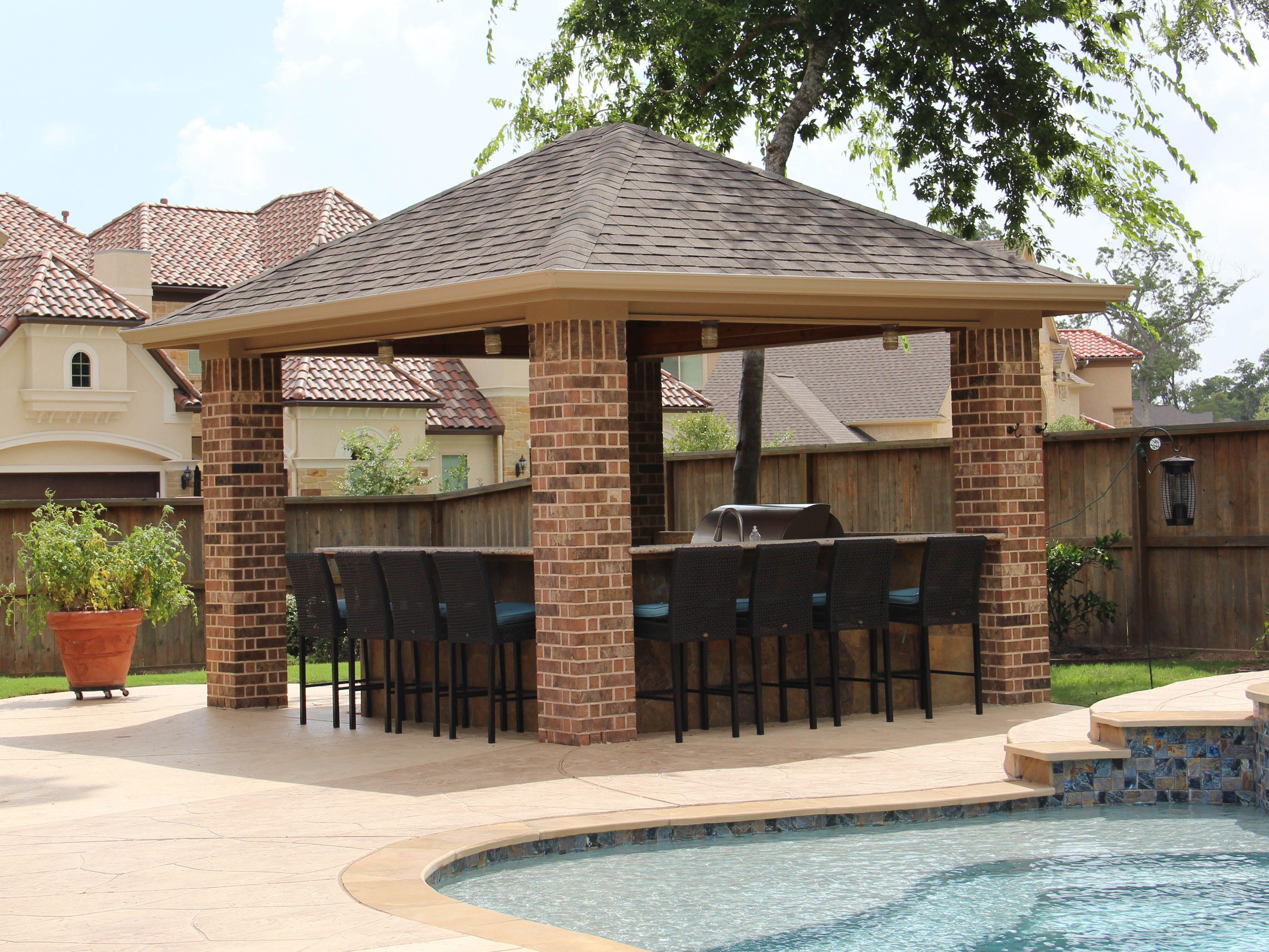 Www Customoutdoors Com Texas Porch Style Patio Cover Over An Outdoor Kitchen Porch Styles Covered Patio Patio