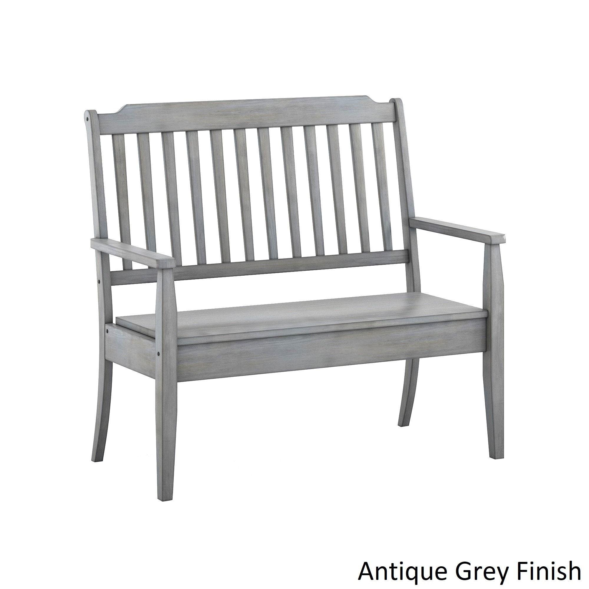 Eleanor slat back wood storage bench by inspire q classic antique grey finish bench rubberwood