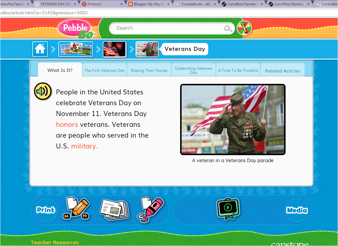 Veterans Day Nonfiction Text On Pebble Go