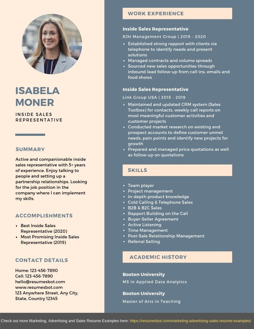 Sales resume examples Inside Sales Representative Resume