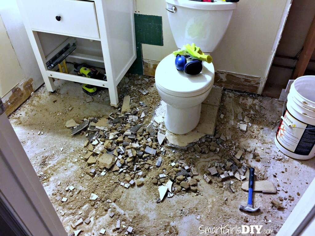 Demo Tile Bathroom Floor Still Using Toiled And Sink The Shower