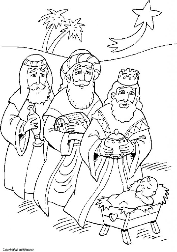 8 Pics Of Nativity Wisemen Coloring Pages Ba Jesus Manger Pertaining To Wise Men Page
