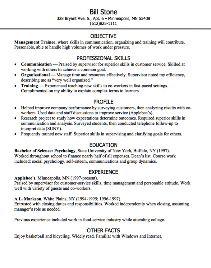 Management Trainee Resume Sample  HttpExampleresumecvOrg