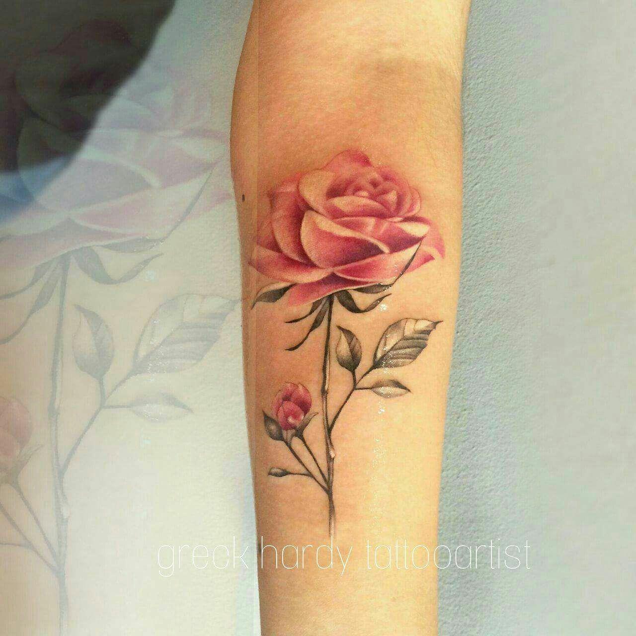 Tatuaje Rosa By Grek Hardy Tatuadorespoblanos Tattoos