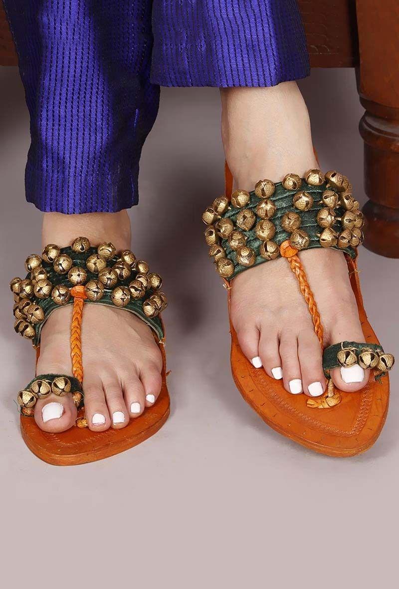 7d1d1c71fd1974 Genuine Leather   Ghungroo Kolhapuri Chappal-Buy Ghungroo kolhapuri Chappal  for Women Online at Tjori