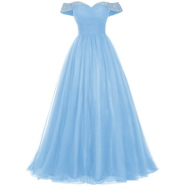 Amazon.com: Bridesmay Long Tulle Prom Dress Beaded Off Shoulder... (375 DKK) ❤ liked on Polyvore featuring dresses, blue prom dresses, off the shoulder formal dress, blue dress, long formal dresses and off the shoulder dress