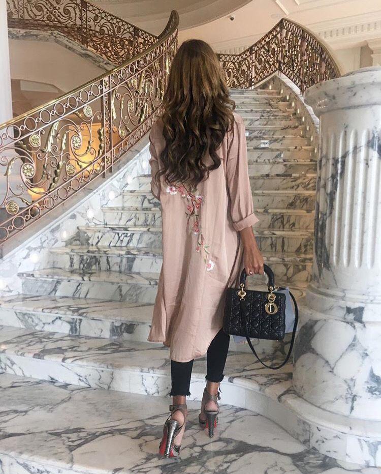 #Laboutin, luxury decor, curly hair, pink blouse, #esteelauder