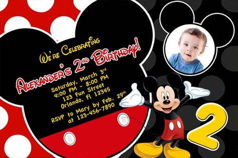 picture regarding Free Printable Mickey Mouse 1st Birthday Invitations identified as Free of charge Printable Mickey Mouse 2nd Birthday Invites