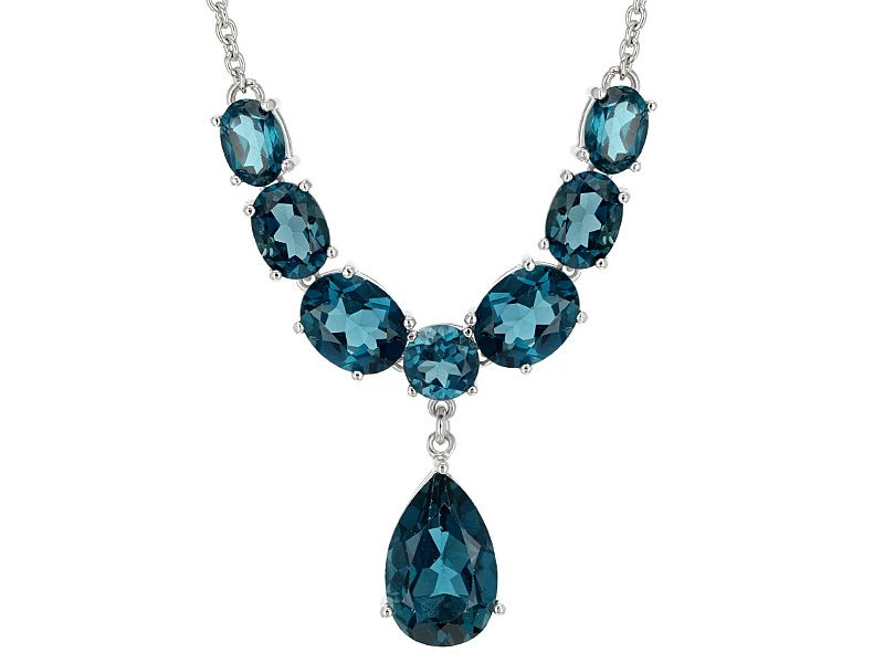 b8f318a03 14.46ctw Mixed Shapes London Blue Topaz Sterling Silver Statement Necklace