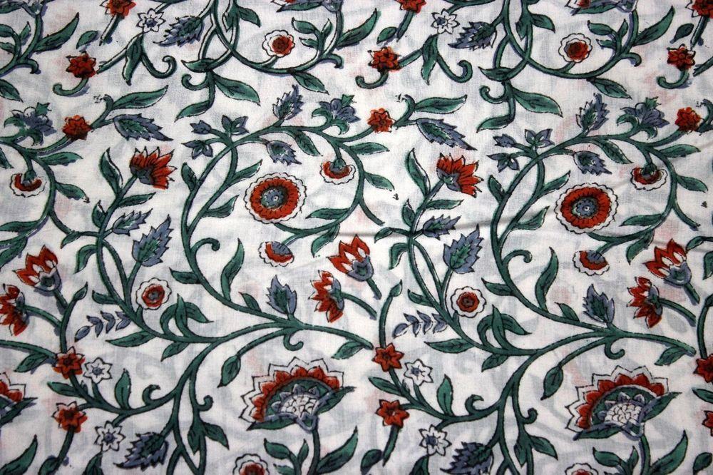 Indian Hand Block Print Fabric Pure Cotton Fabric Sanganeri Print Jaipur Natural Vegetable Color 2.5 To 50 Yards Print 290