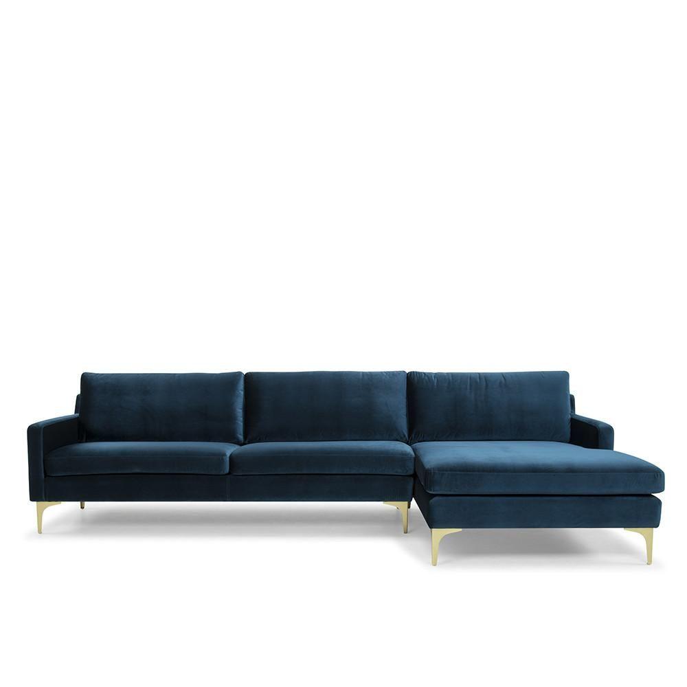 Plush Velvet Corner Sofa Blue Corner Sofa Blue Sofa Sofa