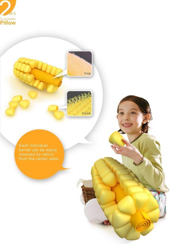 Sweet corn pillow (2010) by Jet Ong, via Behance