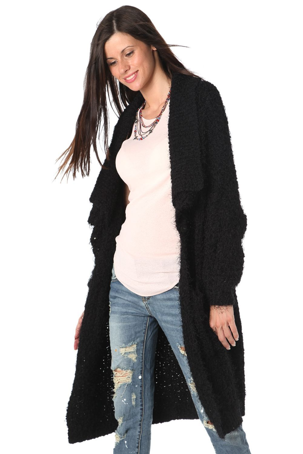Black longline oversize cardigan in fluffy yarn - 69,90 € - https ...