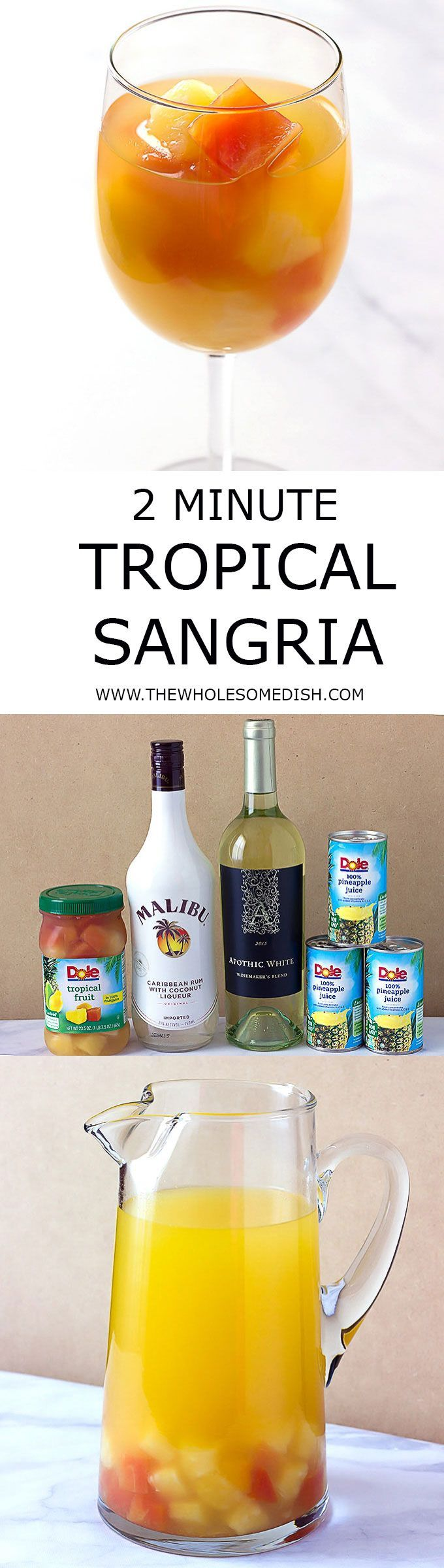 2 Minute Tropical Sangria - A simple tropical sangria recipe that can be made in minutes, made with Malibu coconut rum, pineapple juice, white wine, and mixed tropical fruit. via @afinks