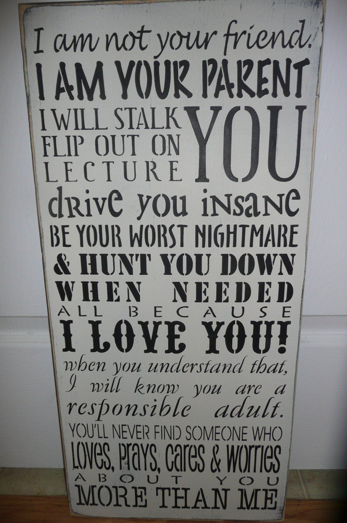 """PARENTS PROMISE-I am your Parent/Hand Painted/ Wood Sign/Wall Decor/Family/Love/12""""x 24""""/Marias Makery etc"""