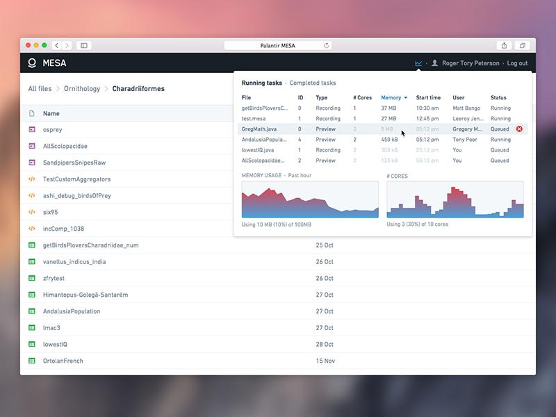 Palantir Mesa activity monitor in context | palantir | Activity