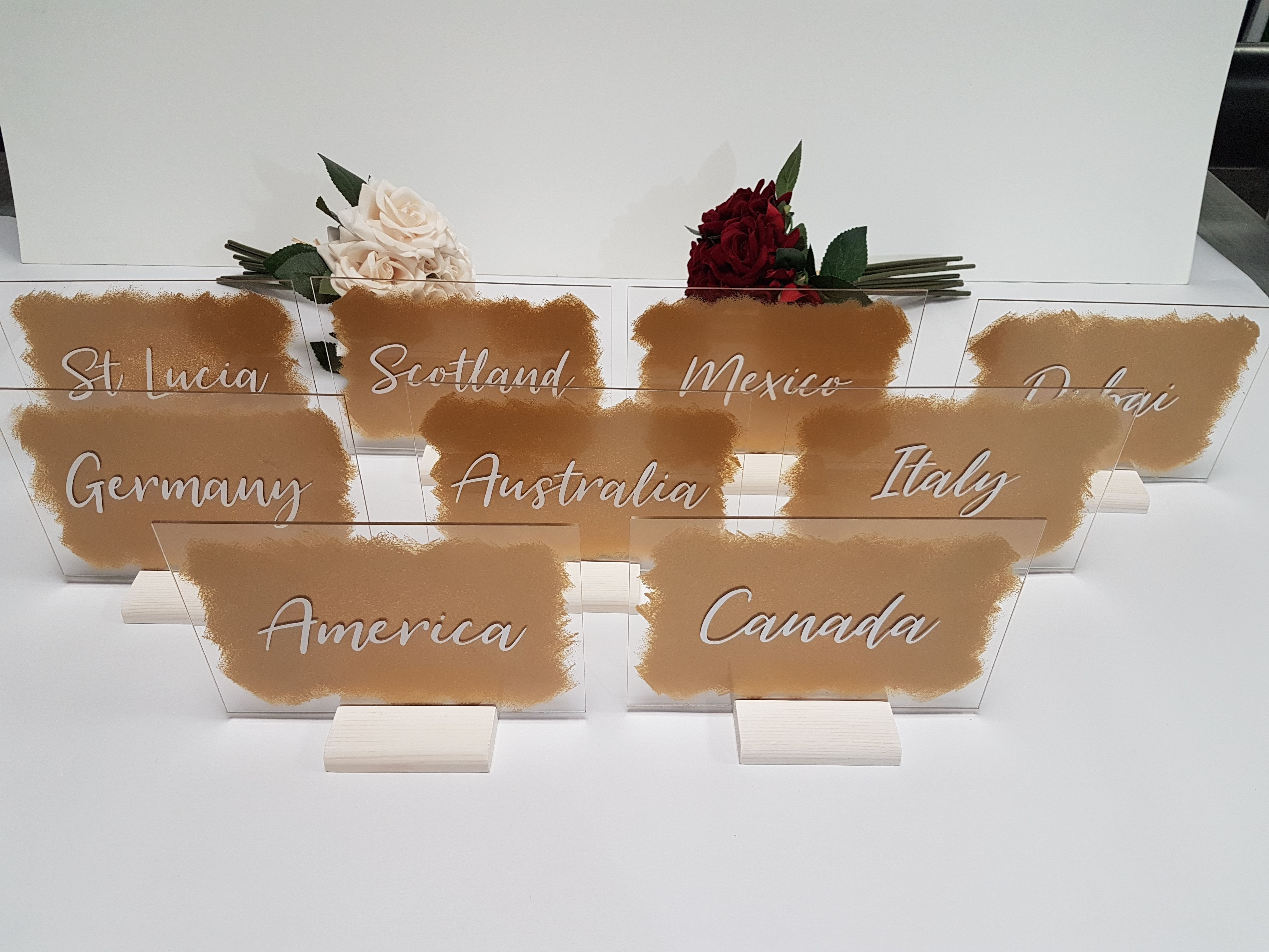 Painted Acrylic Table Names / Numbers A5 Acrylic table
