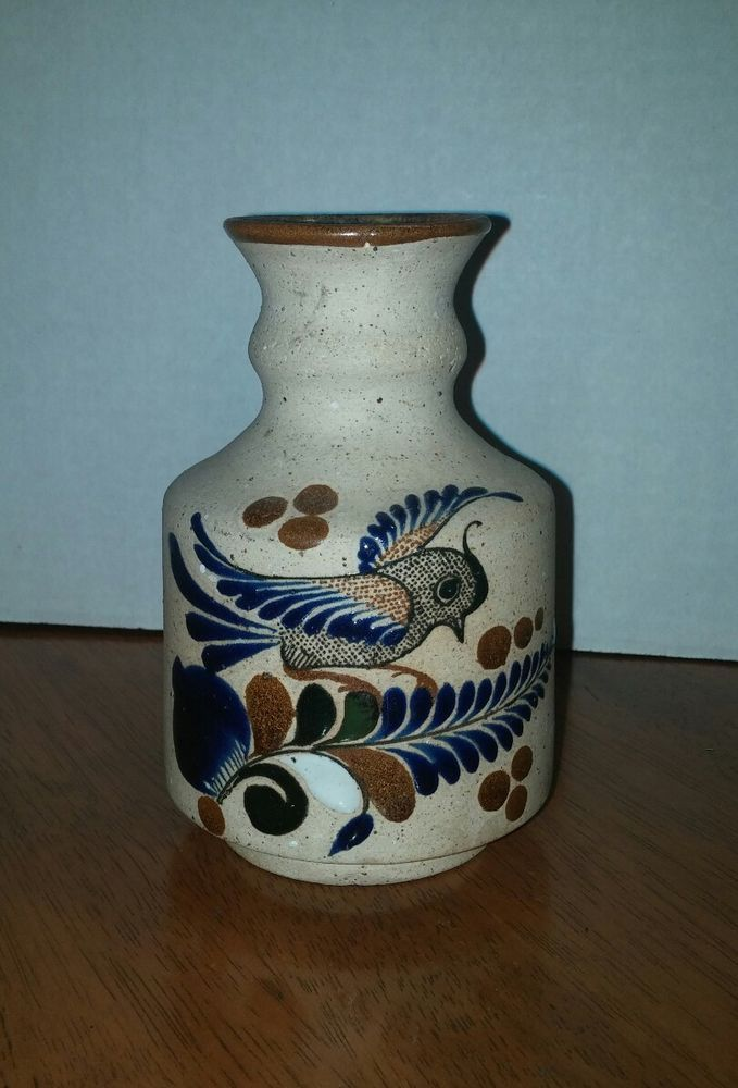 Pretty Mexican Pottery Sandstone Vase 55 High Bird Flowers